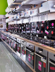Kitchen appliances at household store