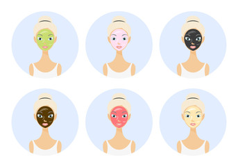 Different types of facial masks and skin care illustration set on circle. Pretty girl face with various skincare treatments.