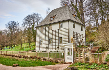 """Johann Wolfgang von Goethe's gardenhouse in public park at the river """"Ilm"""" in Weimar in East Germany"""