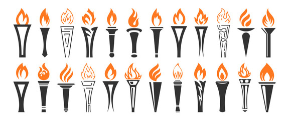 Torch and flame icons set. The symbol of victory, success or achievement. Vector illustration