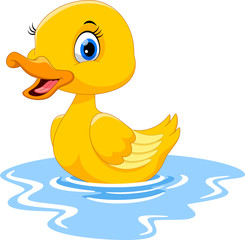 Cute cartoon duck swimming