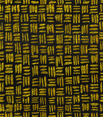 Hand painted watercolor seamless repeat gold glitter crosshatch basket weave pattern on a charcoal chalkboard background.