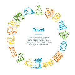 Travel and Tourism Thin Line Banner Card Circle. Vector
