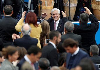 Chile's President Sebastian Pinera arrives for the swearing-in ceremony of Colombia's new President Ivan Duque at the Bolivar Square in Bogota