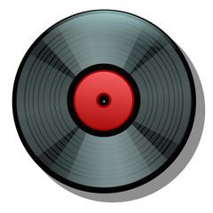 Black cartoon vinyl record isolated on white background. Vector illustration.