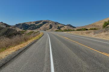 Eric Seastrand Memorial highway (CA-46) passing through hills near Cambria San Luis Obispo county, California, USA