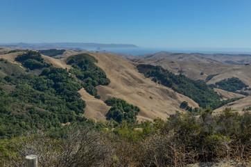 rugged hills near Eric Seastran Memorial highway (CA-46) facing Pacific ocean San Luis Obispo county, California, USA