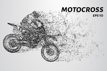 Motocross consists of circles and dots. Sports illustration in point style.