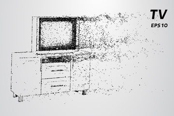 TV on the nightstand. TV from particles.