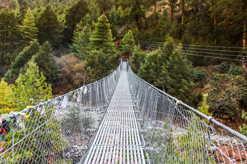 Hanging suspension bridge in Nepal.