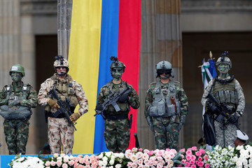 Members of Colombia's security forces participate in the swearing-in ceremony of Colombia's new President Ivan Duque at the Bolivar Square in Bogota