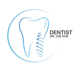 Dental Dentist Teeth Implant Vector Logo