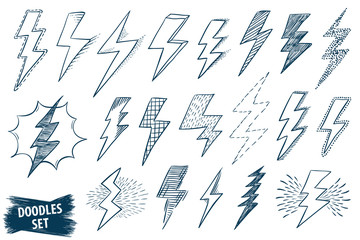 Lightning doodle set. Thunder or storm symbol. 80th, 90th style sketch. Scribble retro collection. Scrawl vector. Lightning simple illustrations isolated on white.
