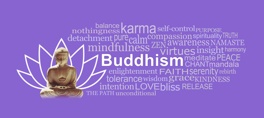 Buddhism and Lotus symbol Word Tag Cloud - Buddha in seated position with a lotus flower symbol behind and a BUDDHISM word cloud against a plain lilac background