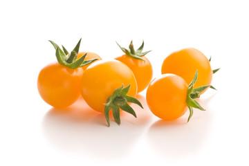 Tasty yellow tomatoes. - fototapety na wymiar