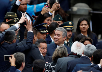 Colombia's new President Ivan Duque arrives for his swearing-in ceremony at the Bolivar Square in Bogota