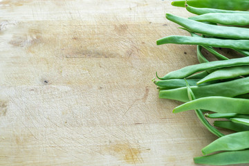 Green Beans on a Wood Table