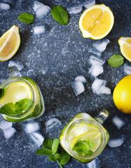 Mason jar glass of lemonade with mint