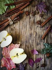 Autumn frame wth apple, cinnamon stick, star anise and clove