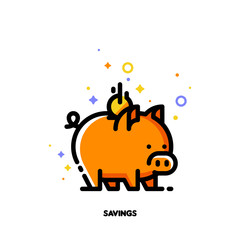 Icon of piggy bank and falling coin for budget or money savings concept. Flat filled outline style. Pixel perfect 64x64. Editable stroke