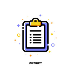 Icon of clipboard with checklist and checkmarks for office work concept. Flat filled outline style. Pixel perfect 64x64. Editable stroke