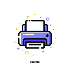 Icon of printer for office work concept. Flat filled outline style. Pixel perfect 64x64. Editable stroke