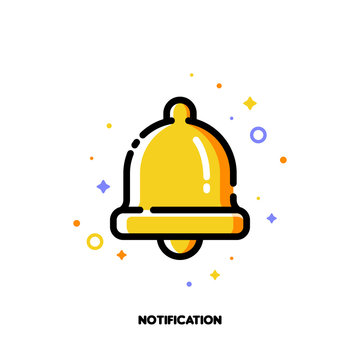 Icon of bell for alarm or notification concept. Flat filled outline style. Pixel perfect 64x64. Editable stroke