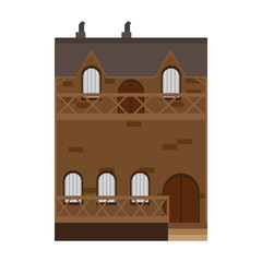 Isolated medieval building icon