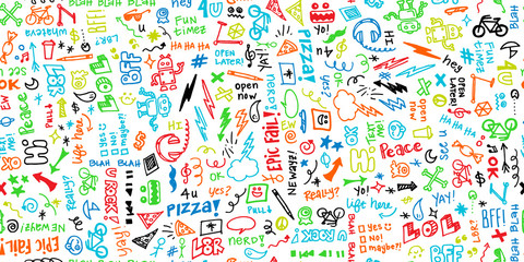 Colorful seamless hand drawn school note doodles pattern with robots, headphones, pizza, and funny phrases.