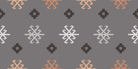 Seamless Repeat Tribal Turkish Kilim Scorpion and Geometric Floral Pattern in Blush, Peach, and Charcoal.