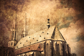 Old Catholic church in Germany. Image made in old color style.
