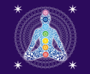 Silhouette of a yogi in a lotus asana on the background of a delicate mandala. Signs of the 7 chakras. A symbolic picture.