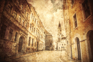 View at facade of old building in Germany. Image made in old color style