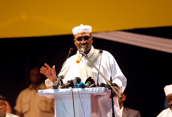 Aliou Diallo, leader of ADP-MALIBA speaks during protest against what they say were vote count irregularities in Bamako