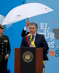 Colombia's new President Ivan Duque gives his speech after being sworn in during his inauguration ceremony on Bolivar Square