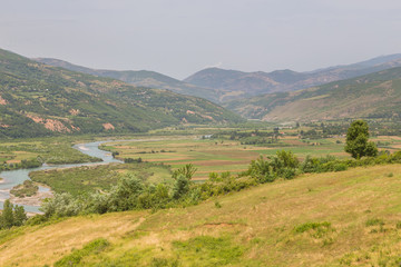 Canvas Prints Honey Scenic landscape view in Albanian mountain, Lure