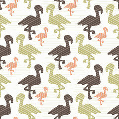 Nature Flamingo Silhouette Seamless Vector Pattern Background, Hand Drawn Wild Animals Illustration for Nursery Room Decor, New Parents Scrapbooking, Kids Fashion Prints, Cute Baby Blog Backgrounds