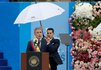 Colombia's new President Ivan Duque delivers his speech after being sworn in during his inauguration ceremony on Bolivar Square