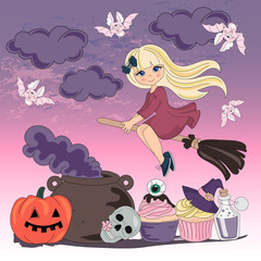 Halloween Color Vector Illustration Set FLYING WITCH for Scrapbooking Party and Digital Print on Card And Photo Mystic Album