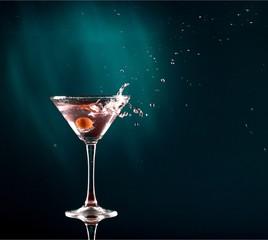 Martini cocktail on dark Background