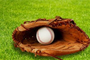 Baseball glove with a ball
