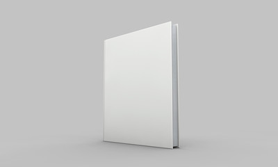 Hardback book cover mockup. White book on a grey background. 3D Rendering