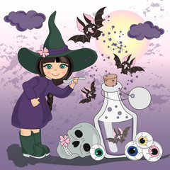 Halloween Color Vector Illustration Set MY HALLOWEEN for Scrapbooking Party and Digital Print on Card And Photo Mystic Album