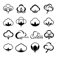 Vector set of icons indicating the cotton marks, labels or textile products, isolated on white background. Mockup for design, illustration.