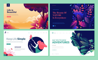 Set of web page design templates for beauty, spa, wellness, natural products, cosmetics, body care, healthy life. Modern vector illustration concepts for website and mobile website development.  Fotoväggar