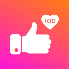 Like, thumbs up icon on gradient background. Icon like 100. Social network symbol. Counter notification icon. Social media element. Message bubble. Emoji reaction. Vector illustration