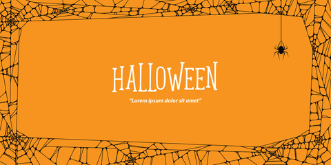 Halloween  horizontal frame black cobweb and spider on orange background ilustration vector. Halloween concept.