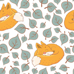 Seamless pattern with cute sleep fox and fall leaves. Autumn background.