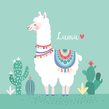 Lama with cactus, greeting card, vector illustration