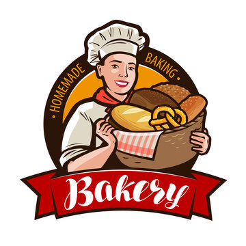 Bakery, bakeshop logo or label. Woman baker holding a wicker basket full of bread. Vector illustration